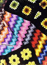 AFGHANS vandyke,granny squares & flowers - 8ply or D.K. - crochet rug patterns