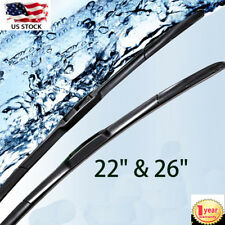"2PCS/SET ALL SEASON 26""+22"" PREMIUM JHOOK BRACKETLESS WINDSHIELD WIPER BLADES US"