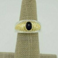 Lagos Caviar Sterling & 18k Yellow Gold Ribbed Design w/ Cabochon Amethyst Ring
