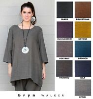 BRYN WALKER USA Heavy Linen  AIDA TUNIC  A-Line 3/4 Slv Top  1X 2X 3X  FALL 2018