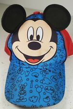 Disney OSFM Kids Mickey Mouse  Blue and Red with Ears Adjustable Cotton Hat Cap