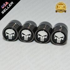 Black Chrome Wheel Tire Air Valve Caps Stem Valve Cover With Skull Emblem