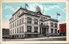 Postcard NJ Hoboken City Hall Streetcar Tracks American Flags 1930 F11
