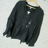 William Rast Shirt Top Womens XL Blue Graphite Atwood Beaded Peasant MSRP $90