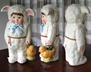 """BETHANY LOWE EASTER WISHES LAMBIKINS BOY IN LAMBS OUTFIT 15-1/2"""" LRG PAPER MACHE"""