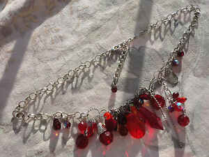 "Silver-plated belcher chain red crystal  enamel 42 gram 17-20"" chakra necklace"