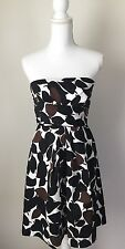 Strapless  dress Size 2, Donna Ricco, Leaf Print Cotton Fit And Flare Formal