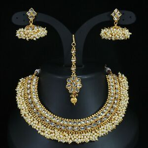 Indian Bollywood Choker Copper Necklace Wedding Gold Plated Tone White Jewelry
