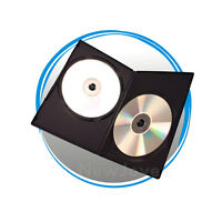 100 Pack Black 7mm Slim Double 2 Disc CD DVD Movie Case Storage Box