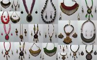Vintage Indian Jewelry Set Long Necklace Earring Variations Tribal Gypsy Fashion