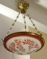 PLAFONNIER LUSTRE vasque verre émaillé de glycines Art Nouveau / DECO Era MULLER