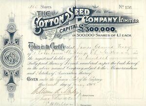 United Kingdom 1901 The Cotton Seed Company Ltd London, Certificate No. 156