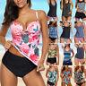 Women Push Up Padded Tankini Bikini Set Swimsuit  Swimwear Bathing Suit Floral