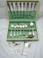 Wm Rogers Memory 72pc Silver Plate Flatware Set 'E' Monogram