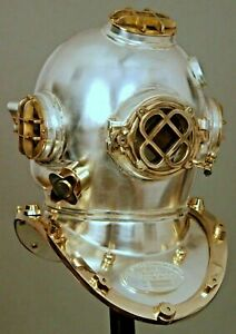 Vintage Chrome Finish diving divers helmet ~Deep Sea Scuba ~Mark V~Diving Helmet
