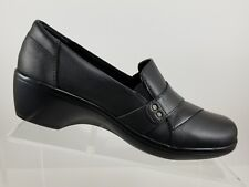 8d247891945 Clarks Collection May Marigold Black Leather Slip On Wedge Heels Shoes  Womens 9M