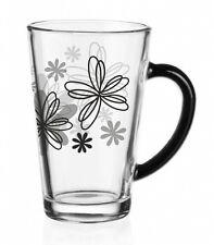 6 Latte Macchiato Gläser 300ml Schwarze Blumen Teeglas Kaffeegläser Milchkaffee