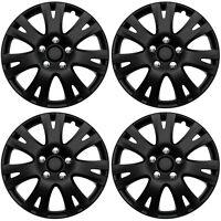 "4 Pc Set of 16"" Matte Black Hub Caps for OEM Steel Wheel Cover Center Cap Covers"