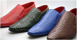 Mens Designer Leather Look Crocodile Skin Slip On Shoes Blue Brown Green Red