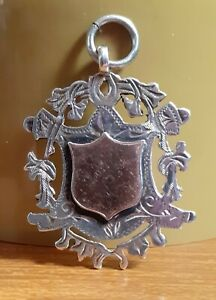 Old Unused Silver & Gold Watch Chain Fob Necklace Pendant Ideal To Engrave