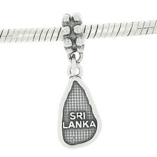 STERLING SILVER DANGLE EUROPEAN BEAD TRAVEL COUNTRY SRI LANKA BEAD CHARM
