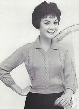 Vintage Knitting PATTERN to make Cable Collar Pullover Sweater CablePullover