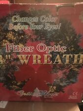 "Christmas 24"" Fiber Optic Wreath With Red Bow Lights Ac Adapter Original Box"