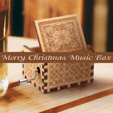 Merry Christmas Engraved Wooden Retro Hand Crank Mechanical Music Box Gift  /-