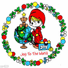 "6"" PRECIOUS MOMENTS CHRISTMAS BOY GLOBE CHARACTER FABRIC APPLIQUE IRON ON"