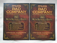 """BAD COMPANY/Paul Rodgers """"Swan Song"""" UK Arena Tour 2016. Promo tour flyers x 2"""