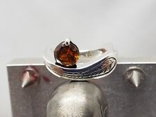 Sterling Silver Citrine stone, wave  Ring .925 Sz: 7 1/2,new,hand engraved #2