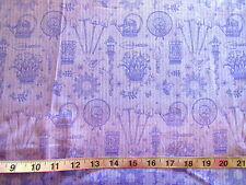 100% Cotton Fabric Debbie Mumm by SouthSea Imports, Light Purple w/Garden Items