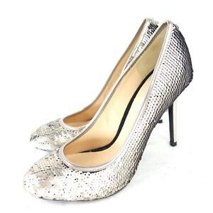 GUESS Damen Pumps FL6NA2SAT08 Gr 39 Silber Leder Schuhe Pailletten NP 179 Neu
