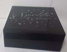Square Stylish Elegant Small Black Jewellery Bits & Bob Organiser Box -Silver