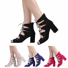 Faux Suede Block Lace-up Shoes for Women
