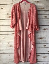 LuLaRoe SHIRLEY Kimono Womens Small Red White Floral Print Open Front Duster