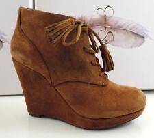 Jessica Simpson Cyntia Ankle Wedge Booties Heels Lace Up Suede Brown Size 8