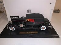 1/18 DIECAST 1934 PACKARD V12 CABRIOLET IN BLACK/RED PIPPING BY ANSON.