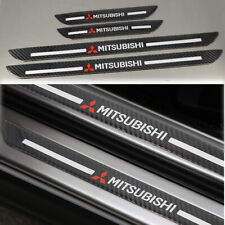 4Pcs Mitsubishi Carbon Fiber Car Door Welcome Plate Scuff Cover Panel Sticker