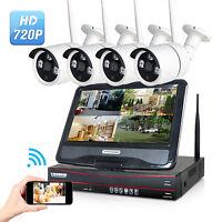 "WIFI 10.1"" 4CH Wireless CCTV Record DVR Wifi Camera NVR System Monitor Remote"