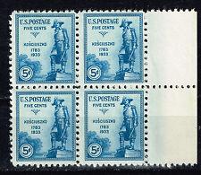 US Polish Military Leader Tadeusz Kościuszko stamps block of 4 MNH 1933