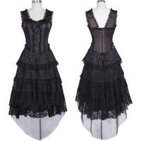 Black Vintage Victorian Gothic Steampunk Evening Corset Dress Dancer Costume New