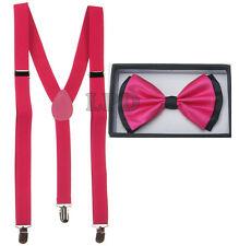 NEW Unisex Elegant Two Tone Striped Black & Neon Pink Bow tie & Suspender Set