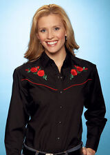 Ladies Ely Western Cowgirl Shirt Black Embroidered Red Rose - Cowboy Line Dancin