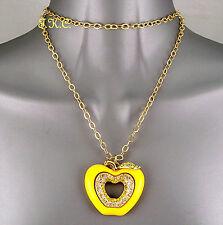 Debenham Bright Kitsch Gold Plt Apple Wag Pendant Necklace w/ Swarovski Crystals
