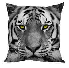 "MODERN SNOW TIGER FACE WITH YELLOW EYES 18"" X 18"" CUSHION ANIMAL DESIGN"