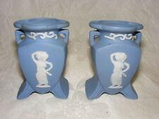 Vintage Blue Jasperware 2 Small Vases Lady w Urn