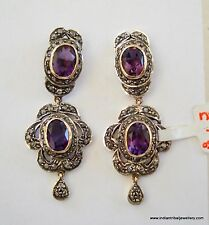 victorian diamond amethyst 14k gold silver earrings ind