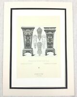1888 Antique Print French Architectural Carving King Louis XIV Versailles Palace