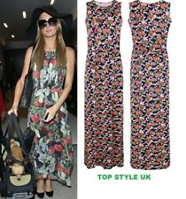 Womens Ladies Celebrity Inspired Floral Print Sleeveless Summer Party Maxi Dress
